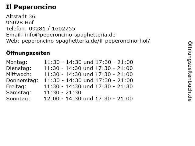 Il Peperoncino in Hof: Adresse und Öffnungszeiten