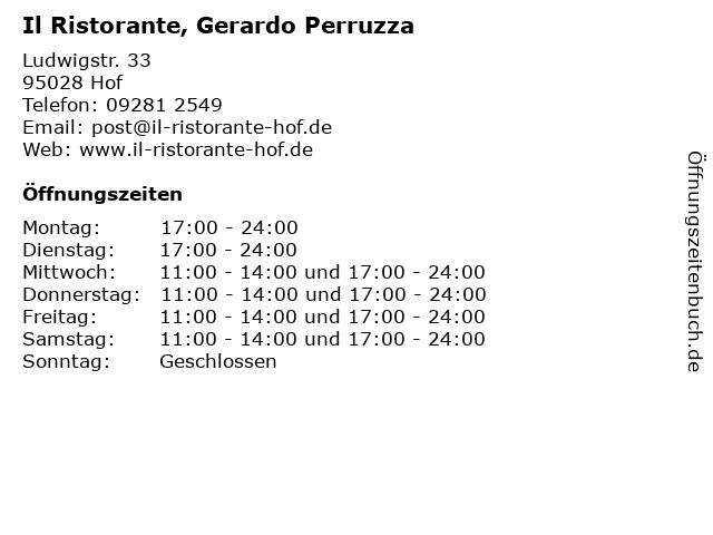 Il Ristorante, Gerardo Perruzza in Hof: Adresse und Öffnungszeiten