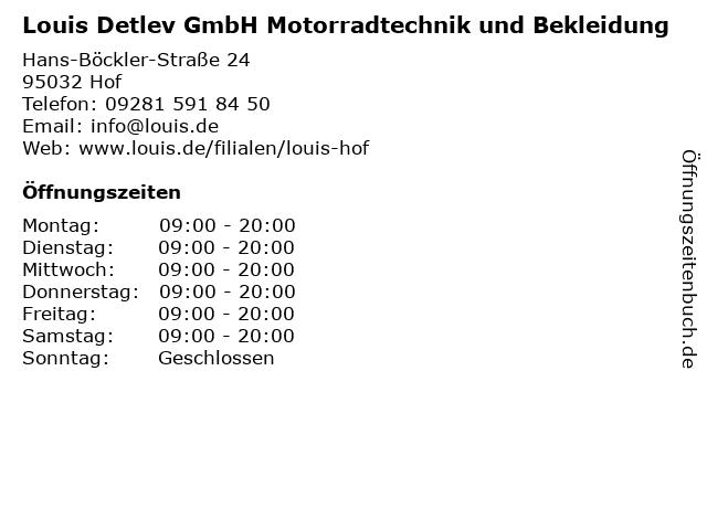 Louis Detlev GmbH Motorradtechnik und Bekleidung in Hof: Adresse und Öffnungszeiten