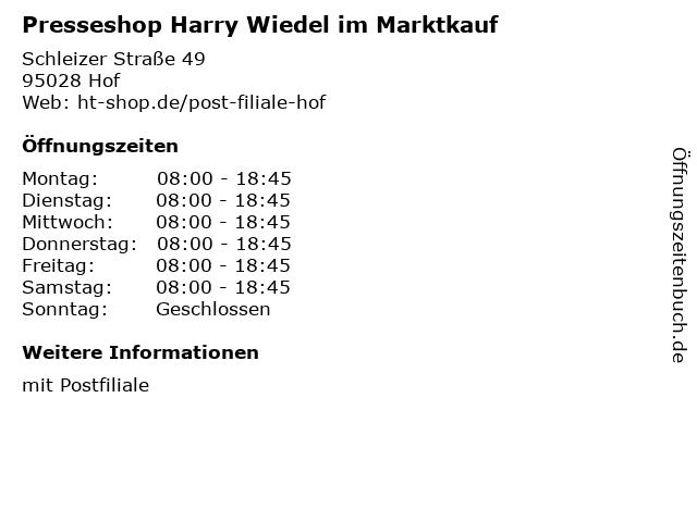 Deutsche Post Filiale in Hof: Adresse und Öffnungszeiten