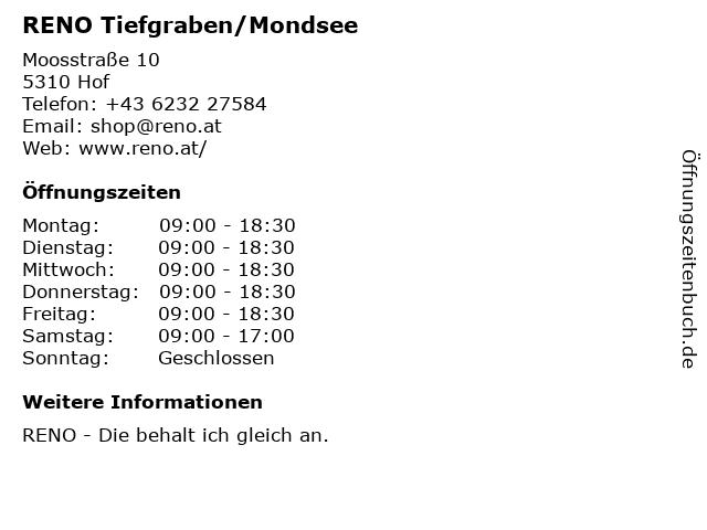 RENO Tiefgraben/Mondsee in Hof: Adresse und Öffnungszeiten
