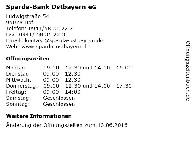 Sparda-Bank Ostbayern eG in Hof: Adresse und Öffnungszeiten