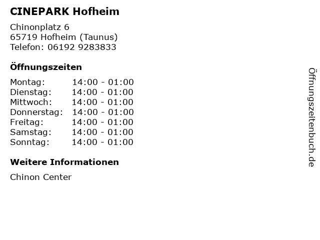 CINEPARK Hofheim in Hofheim (Taunus): Adresse und Öffnungszeiten