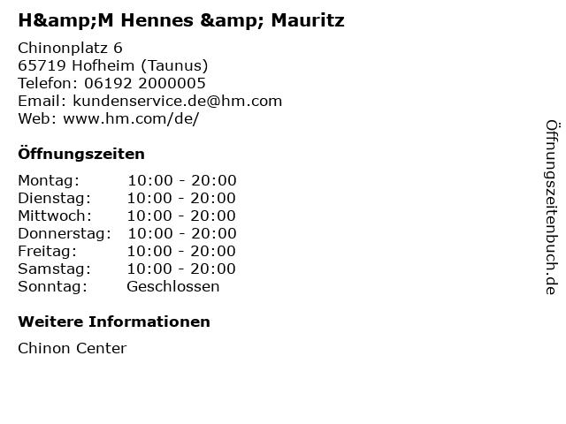 H&M Hennes & Mauritz in Hofheim (Taunus): Adresse und Öffnungszeiten