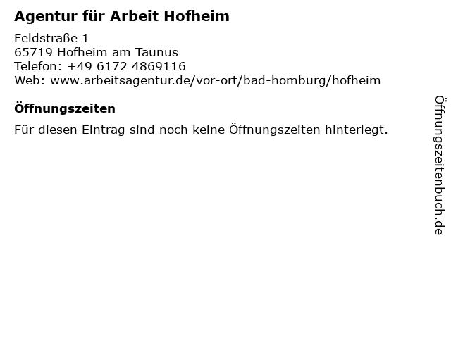 Agentur für Arbeit Hofheim in Hofheim am Taunus: Adresse und Öffnungszeiten