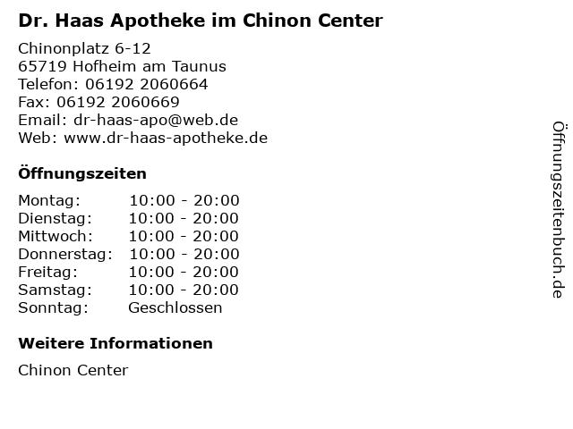 Dr. Haas Apotheke im Chinon Center in Hofheim am Taunus: Adresse und Öffnungszeiten