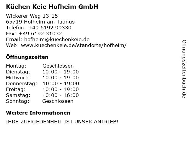 ᐅ Offnungszeiten Kuchen Keie Hofheim Gmbh Wickerer Weg 13 15 In
