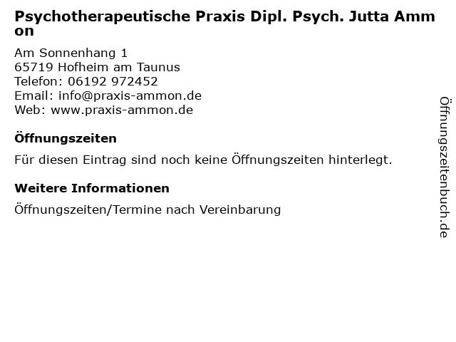 Psychotherapeutische Praxis Dipl. Psych. Jutta Ammon in Hofheim am Taunus: Adresse und Öffnungszeiten