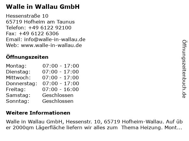 Walle in Wallau GmbH in Hofheim am Taunus: Adresse und Öffnungszeiten