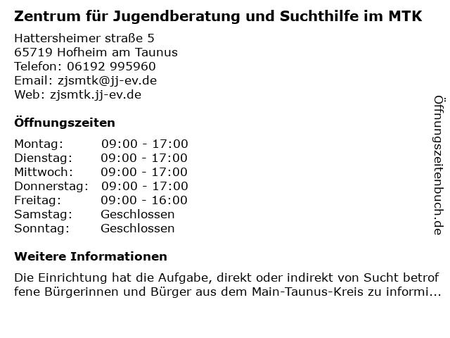Zentrum für Jugendberatung und Suchthilfe im MTK in Hofheim am Taunus: Adresse und Öffnungszeiten