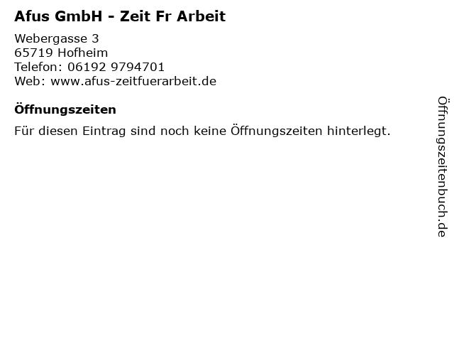 Afus GmbH - Zeit Fr Arbeit in Hofheim: Adresse und Öffnungszeiten