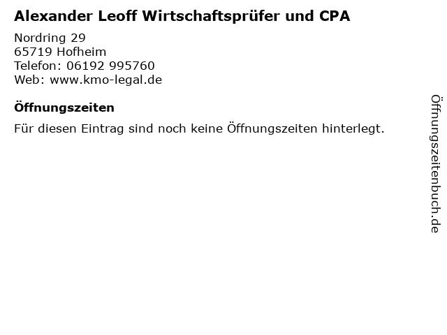 Alexander Leoff Wirtschaftsprüfer und CPA in Hofheim: Adresse und Öffnungszeiten