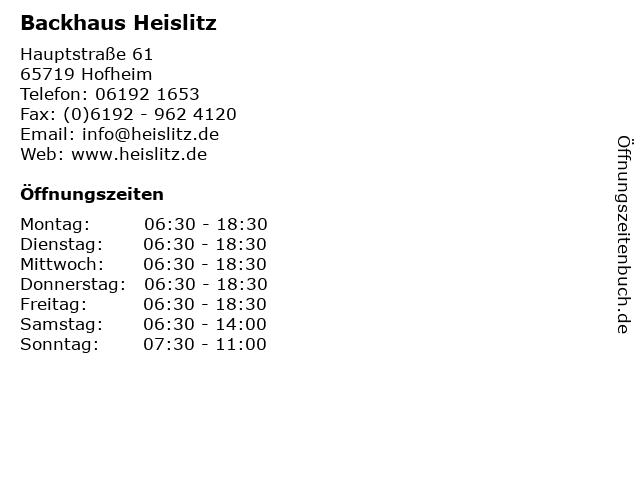 Backhaus Heislitz in Hofheim: Adresse und Öffnungszeiten