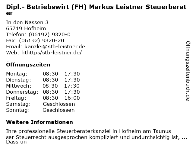 Dipl.- Betriebswirt (FH) Markus Leistner Steuerberater in Hofheim: Adresse und Öffnungszeiten