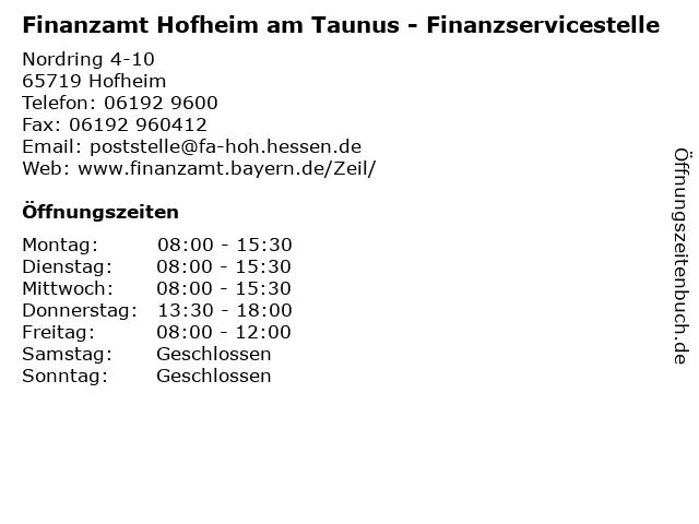 Finanzamt Hofheim am Taunus - Finanzservicestelle in Hofheim: Adresse und Öffnungszeiten