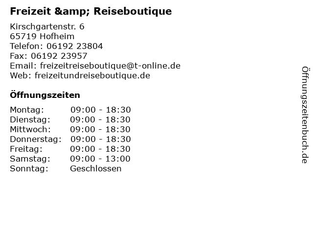 Freizeit & Reiseboutique in Hofheim: Adresse und Öffnungszeiten