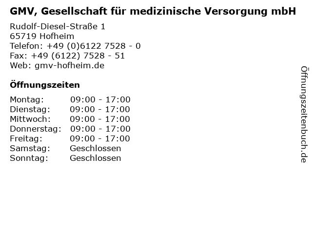 GMV, Gesellschaft für medizinische Versorgung mbH in Hofheim: Adresse und Öffnungszeiten