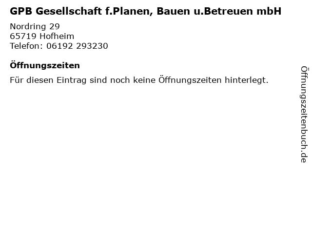 GPB Gesellschaft f.Planen, Bauen u.Betreuen mbH in Hofheim: Adresse und Öffnungszeiten
