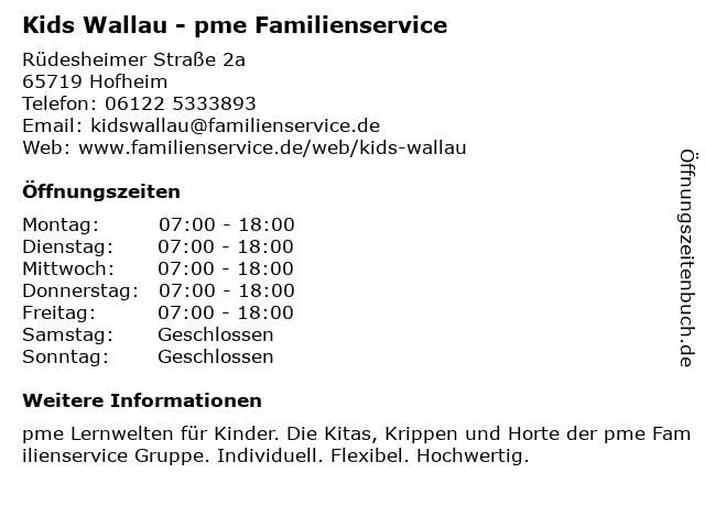 Kids Wallau - pme Familienservice in Hofheim: Adresse und Öffnungszeiten