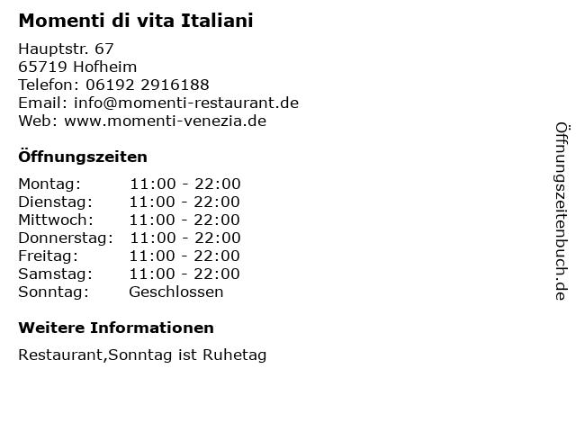 Momenti di vita Italiani in Hofheim: Adresse und Öffnungszeiten