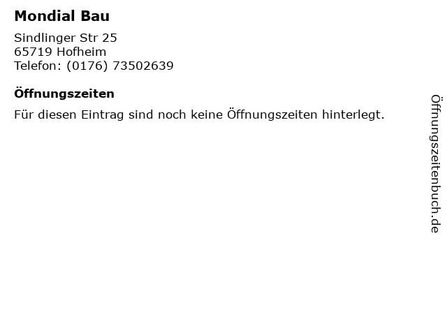Mondial Bau in Hofheim: Adresse und Öffnungszeiten