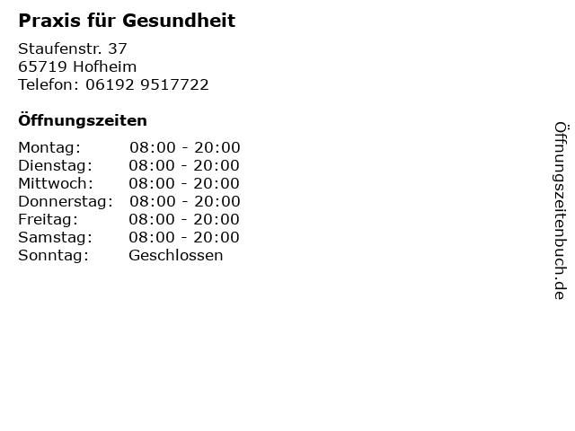 Praxis für Gesundheit in Hofheim: Adresse und Öffnungszeiten