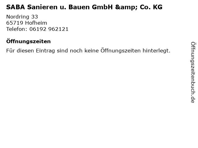 SABA Sanieren u. Bauen GmbH & Co. KG in Hofheim: Adresse und Öffnungszeiten