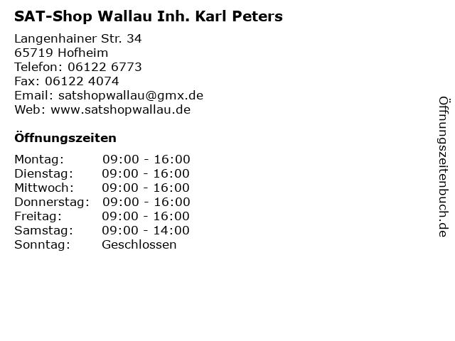 SAT-Shop Wallau Inh. Karl Peters in Hofheim: Adresse und Öffnungszeiten