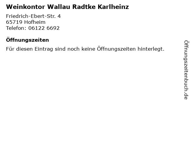 Weinkontor Wallau Radtke Karlheinz in Hofheim: Adresse und Öffnungszeiten