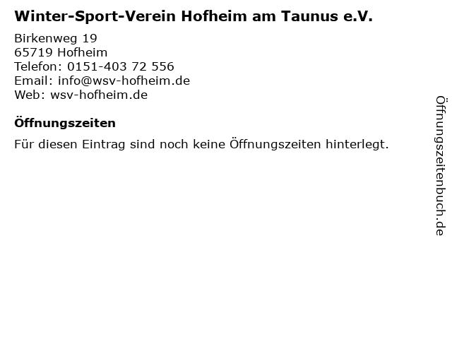 Winter-Sport-Verein Hofheim am Taunus e.V. in Hofheim: Adresse und Öffnungszeiten
