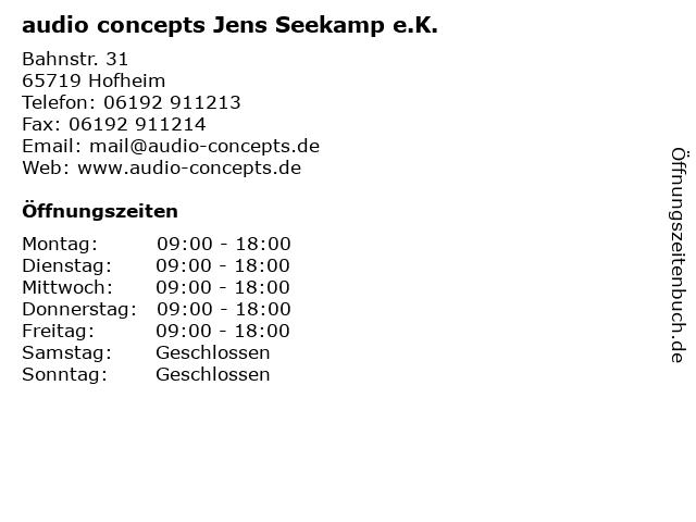 audio concepts Jens Seekamp e.K. in Hofheim: Adresse und Öffnungszeiten
