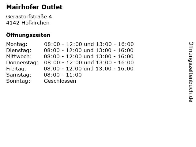 Mairhofer Outlet in Hofkirchen: Adresse und Öffnungszeiten