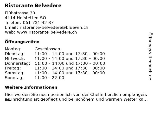 Ristorante Belvedere in Hofstetten-Flüh: Adresse und Öffnungszeiten