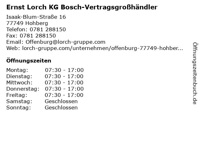 Ernst Lorch KG Bosch-Vertragsgroßhändler in Hohberg: Adresse und Öffnungszeiten