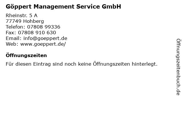 Göppert Management Service GmbH in Hohberg: Adresse und Öffnungszeiten