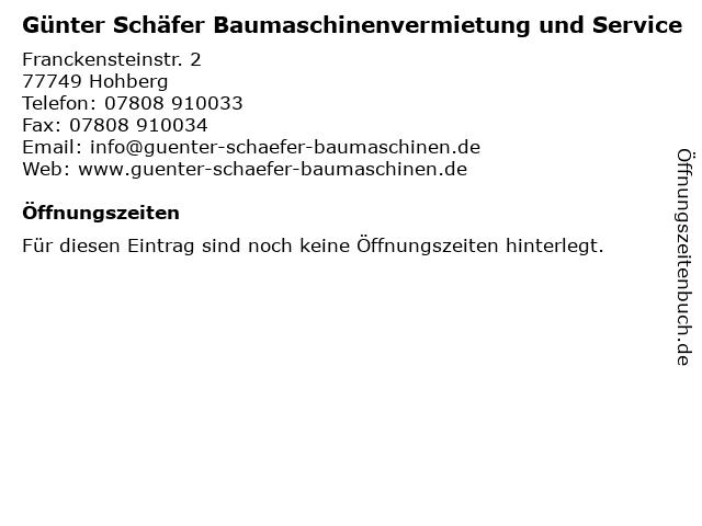 Günter Schäfer Baumaschinenvermietung und Service in Hohberg: Adresse und Öffnungszeiten