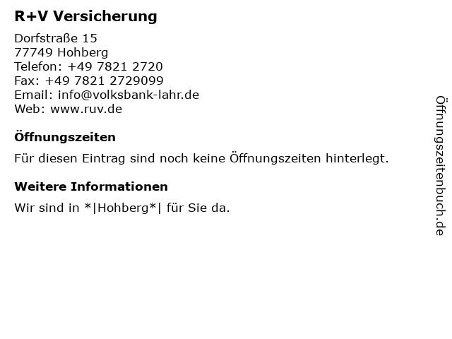 R+V Versicherung in Hohberg: Adresse und Öffnungszeiten