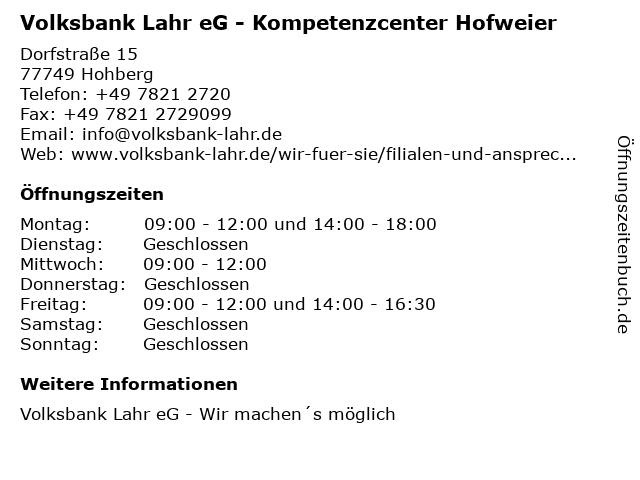 Volksbank Lahr eG - Kompetenzcenter Hofweier in Hohberg: Adresse und Öffnungszeiten