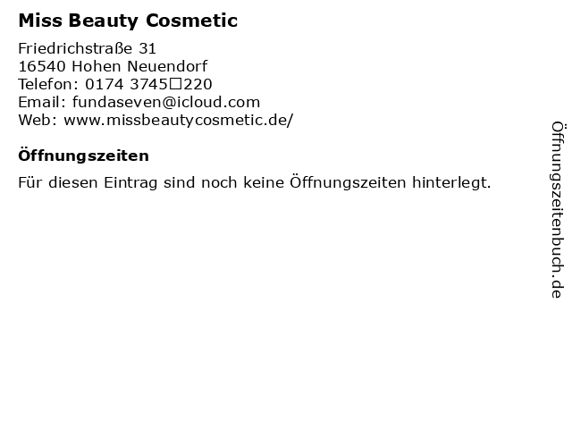 Miss Beauty Cosmetic in Velten: Adresse und Öffnungszeiten