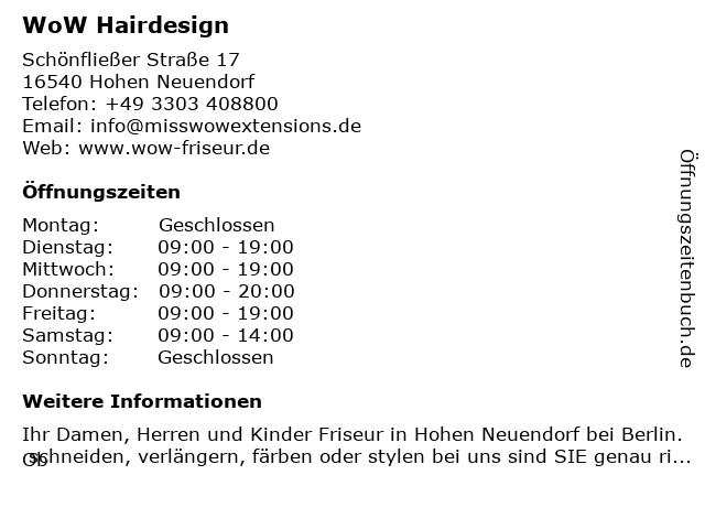 WoW Hairdesign in Hohen Neuendorf: Adresse und Öffnungszeiten