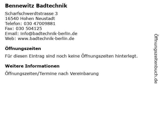 Bennewitz Badtechnik in Hohen Neustadt: Adresse und Öffnungszeiten