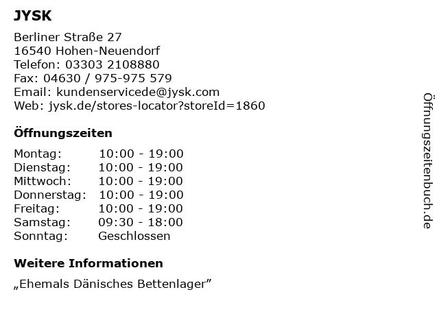 Dänisches Bettenlager in Hohen-Neuendorf: Adresse und Öffnungszeiten
