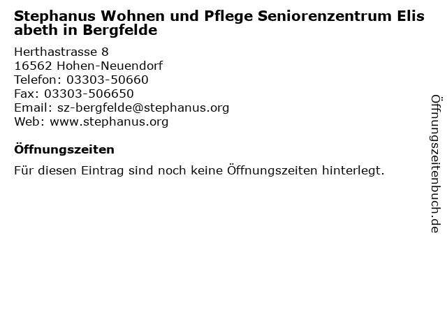 Stephanus Wohnen und Pflege Seniorenzentrum Elisabeth in Bergfelde in Hohen-Neuendorf: Adresse und Öffnungszeiten