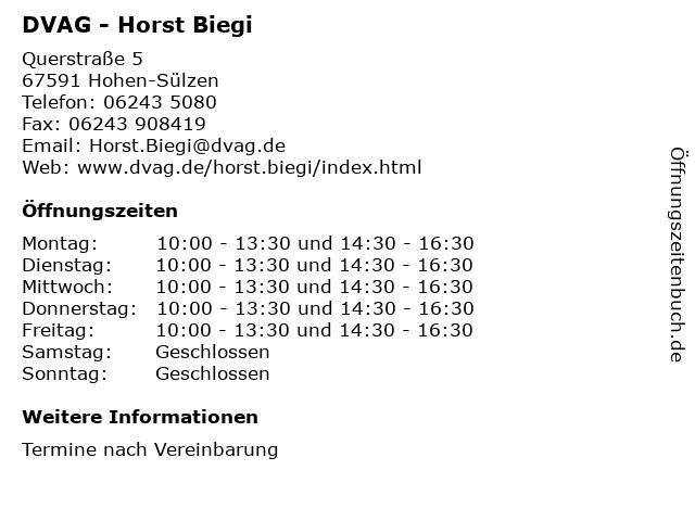 DVAG - Horst Biegi in Hohen-Sülzen: Adresse und Öffnungszeiten