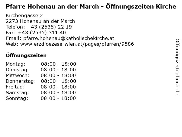 Pfarre Hohenau an der March - Öffnungszeiten Kirche in Hohenau an der March: Adresse und Öffnungszeiten