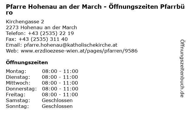 Pfarre Hohenau an der March - Öffnungszeiten Pfarrbüro in Hohenau an der March: Adresse und Öffnungszeiten