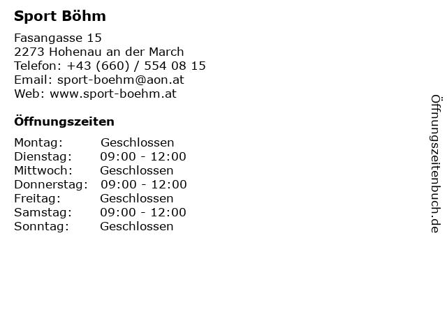Sport Böhm in Hohenau an der March: Adresse und Öffnungszeiten