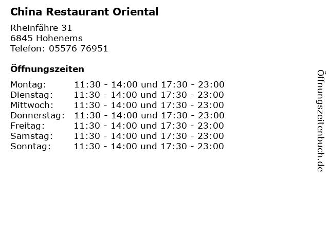 China Restaurant Oriental in Hohenems: Adresse und Öffnungszeiten