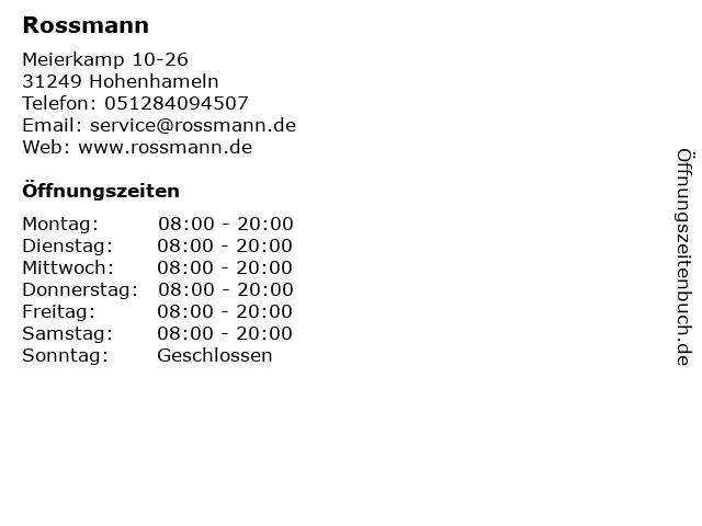 Rossmann in Hohenhameln: Adresse und Öffnungszeiten
