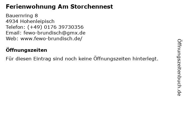 Ferienwohnung Am Storchennest in Hohenleipisch: Adresse und Öffnungszeiten